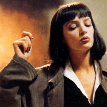 Mia Wallace from Pulp Fiction in brownish red